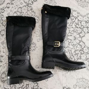 Guess Black Rubber Nylon Zippered Boots Size 6